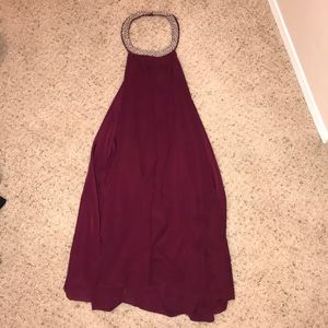 Low back, high neck maroon dress